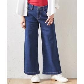 小さいサイズ 9分丈デニムワイドパンツ 【小さいサイズ・小柄・プチ】テーパードパンツ