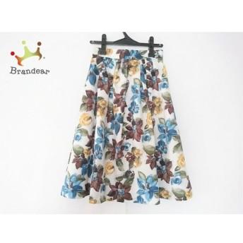 ジャスグリッティー JUSGLITTY スカート サイズ2 M レディース 白×ブルー×マルチ 花柄 新着 20190709