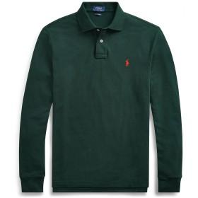 《セール開催中》POLO RALPH LAUREN メンズ ポロシャツ ダークグリーン S コットン 100% CUSTOM SLIM LONG-SLEEVE POLO