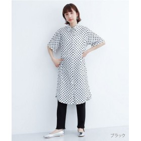 【43%OFF】 メルロー ドット刺繍シャツワンピース レディース ブラック FREE 【merlot】 【タイムセール開催中】