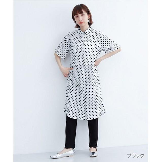 メルロー ドット刺繍シャツワンピース レディース ブラック FREE 【merlot】