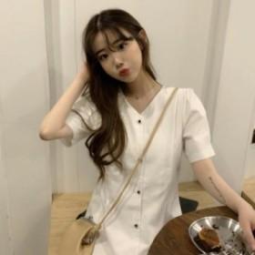 ワンピース 純白 ホワイト 清楚 スリム 半袖 レディース 細見せ 新作 ストリート オルチャン 韓国ファッション カジュアル
