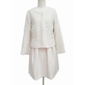 【中古】スピック&スパン セットアップ スカートスーツ ジャケット ノーカラー スカート ひざ丈 総柄 36 ベージュ 白