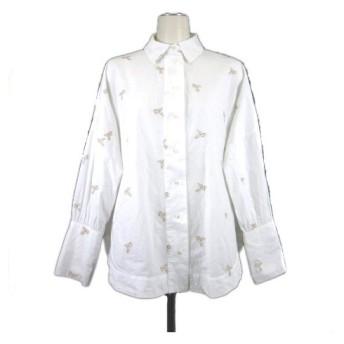 【中古】シャツ 長袖 刺繍 ペガサス レギュラーカラー ワイド ビックシルエット ドロップショルダー 7200/243/250 白 ホワイト ベージュ XS