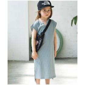 【21%OFF】【ママとおそろい】ワッフル スキッパー ノースリーブドレス グレー 100