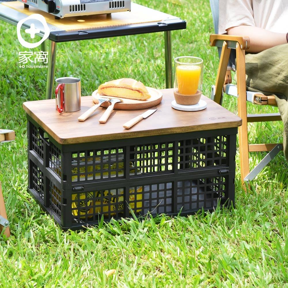 +o家窩 杉崎野餐露營實木摺疊收納桌(1籃1板)-附提袋