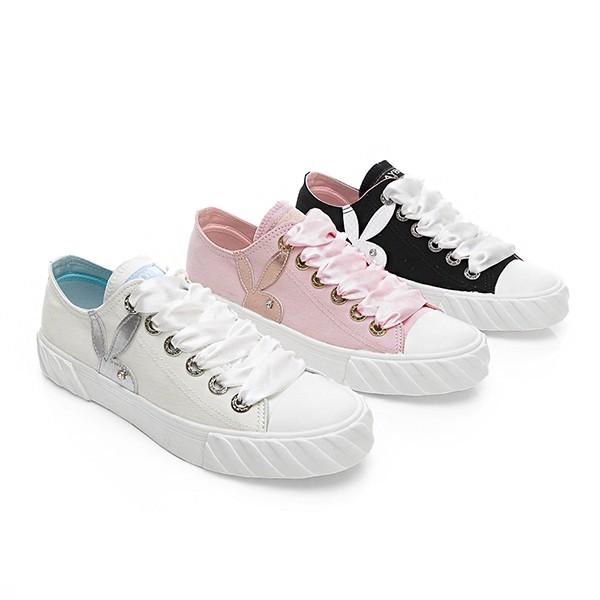 PLAYBOY 街拍印象 貝殼帆布餅乾鞋-白/粉/黑(Y5212)