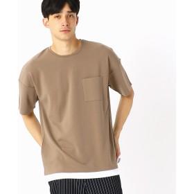 コムサイズム COMME CA ISM フェイクレイヤード ビッグTシャツ (ベージュ)