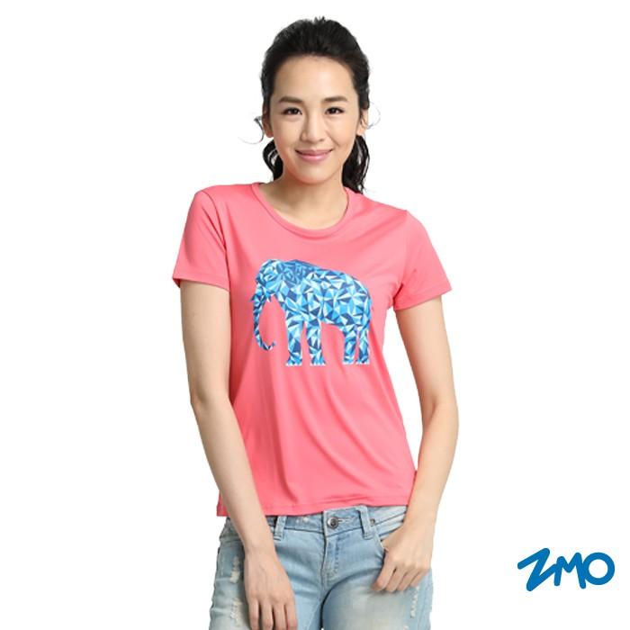ZMO女圓領印圖短袖衫-櫻花粉大象圖TS632