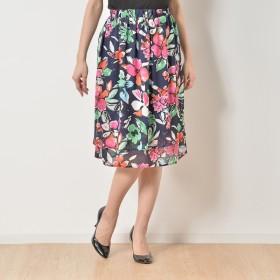 NbyA フラワープリントのレイヤード風ミディアムスカート