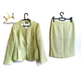 モディファイ modify スカートスーツ サイズ42 L レディース 美品 ライトグリーン×白  値下げ 20190831