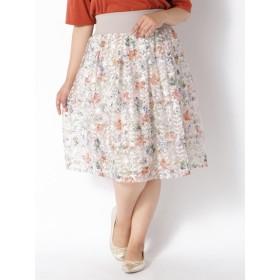 【大きいサイズレディース】チュール刺繍スカート スカート 膝丈スカート