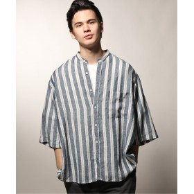 JOURNAL STANDARD relume ココナ37.5 リネンバンドカラーシャツ ネイビー A M