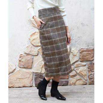 フェイクウールロングタイトスカート