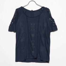 デシグアル Desigual クロシェレース付き半袖Tシャツ (Blue/Navy)