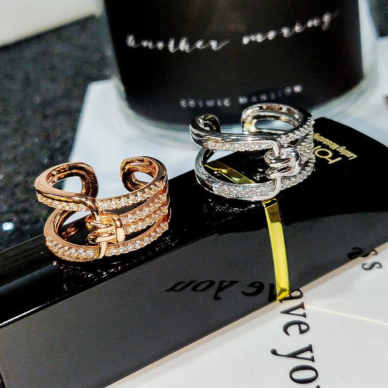 韓國個性多層鋯石微鑲戒指 新款氣質時尚指環
