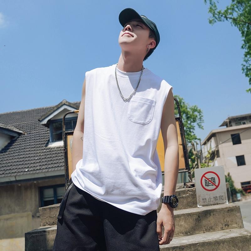 2020夏季新款口袋裝飾小設計圓領純色無袖T恤寬鬆背心 韓版青少年學院風素面小清新純棉背心 無袖上衣 正韓上衣 男生衣著