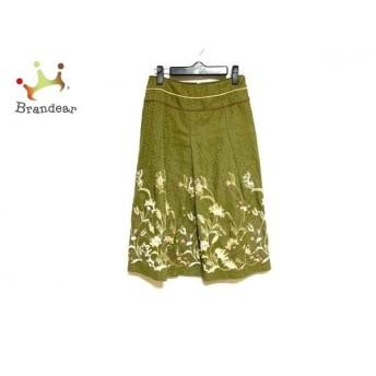 スキャパ ロングスカート サイズ38 L レディース 美品 カーキ×ベージュ×マルチ 花柄/刺繍 新着 20190710