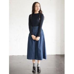 イーハイフンワールドギャラリー E hyphen world gallery サスペンダー付きデニムボタン使いスカート (Indigo)