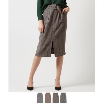 バックルベルト付きチェックタイトスカート