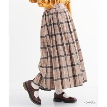 メルロー ウールライクチェックプリーツスカート レディース ベージュ FREE 【merlot】