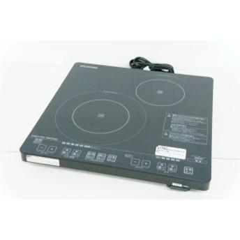 【中古】アイリスオーヤマ 2口卓上IH調理器 IHC-S212-B IHクッキングヒーター ブラック