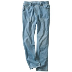 【レディース】 ニットデニムクロップドパンツ(スマートニットジーンズ)(美脚パンツ・吸汗速乾) ■カラー:ブリーチブルー ■サイズ:SS