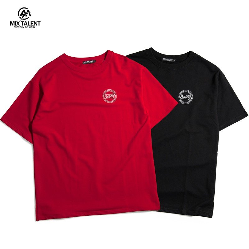 MIX TALENT 草寫 LOGO 圓 雙面設計 寬版 OVERSIZE 落肩 圓領T 短T - 紅/黑