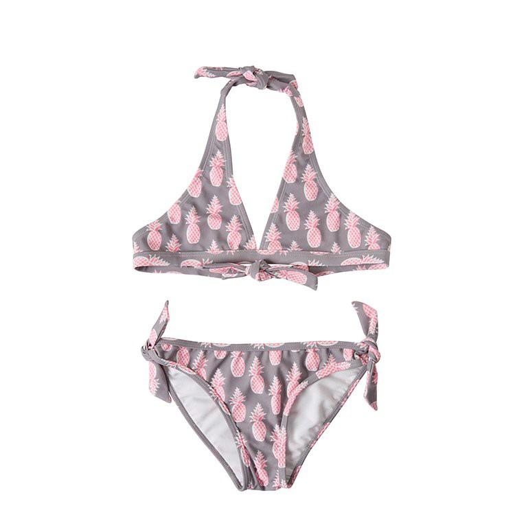 【Snapper Rock】UPF50+認證兒童防曬泳衣比基尼 - 灰色鳳梨