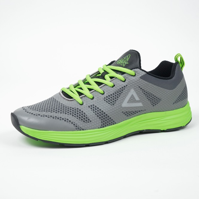 PEAK 慢跑鞋 男 透氣輕量系列 E61133HGG 灰綠色 亮禹體育PEAK台灣經銷商