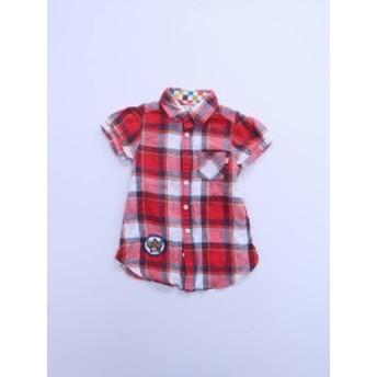 子供服★RODEO CROWNS(ロデオクラウンズ)ワッペン付マドラスチェックワンピース 半袖 赤 レディース Aランク