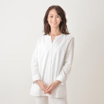 Denim & Co. アイレットパターンシャツ&タンクトップセット