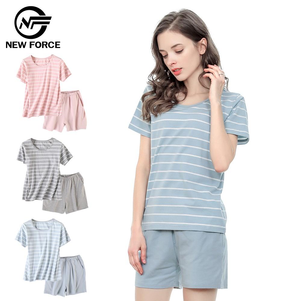 【NEW FORCE】棉質條紋睡衣套裝