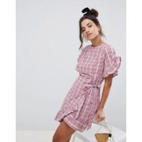 エイソス レディース ワンピース トップス ASOS DESIGN wrap front skater mini dress in gingham Multi