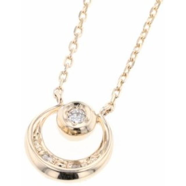 スタージュエリー 月 0.01ct ネックレス 2JN0593 K10イエローゴールド ダイヤモンド STAR JEWELRY 中古