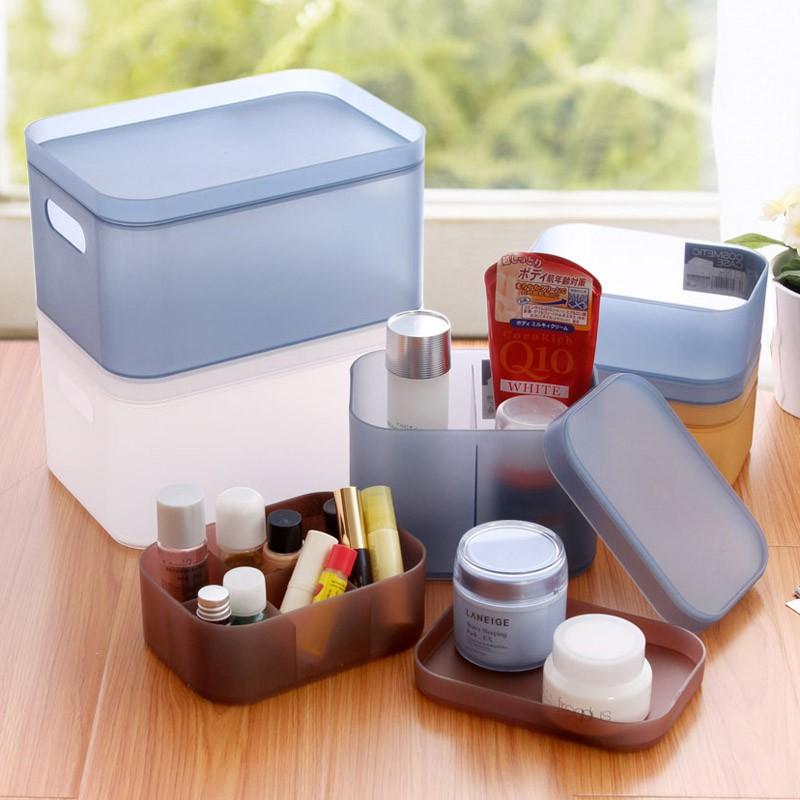 【買十送一】居家家可疊加塑膠桌面收納盒 辦公文具整理盒 梳妝台化妝品收納盒 儲物盒子可疊加塑膠桌面收納盒 辦公文具整理盒