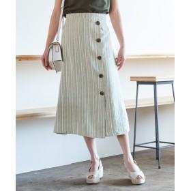 リネンライクストライプラップスカート