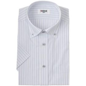 メンズ Kansai shirt 形態安定ストライプボタンダウンドレスシャツ(ゆったりシルエット)