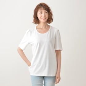 Denim & Co エルボースリーブ プリーツTシャツ