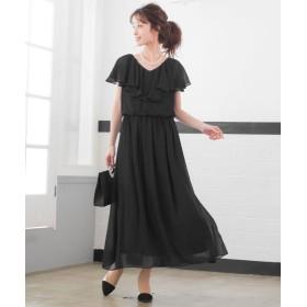 ファッションレター フリルスリーブ ロングワンピースドレス レディース ブラック L 【Fashion Letter】