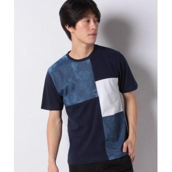 マルカワ 異素材 ブロック切り替え 半袖Tシャツ メンズ ネイビー L 【MARUKAWA】