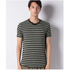 SISLEY ボーダーラウンドネック半袖Tシャツ・カットソー(カーキ)