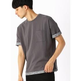 コムサイズム 異素材コンビ ビッグTシャツ メンズ グレー M 【COMME CA ISM】