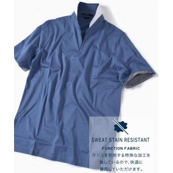 【35%OFF】 シップス SC: 汗ジミ軽減加工 リブ スキッパー ショートスリーブ ポロシャツ 19SS メンズ ブルー LARGE 【SHIPS】 【セール開催中】