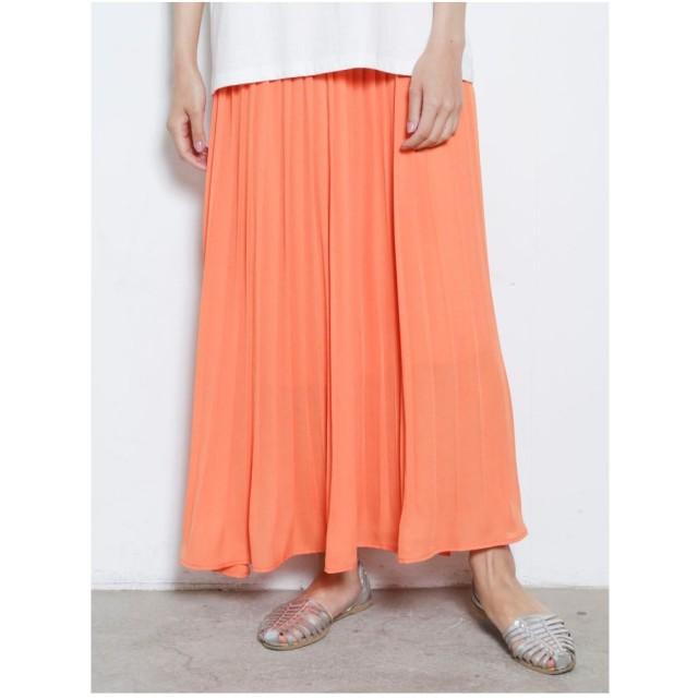 COTORICA. 消しプリーツネオンカラースカート(オレンジ)