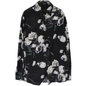 LAD MUSICIAN(ラッドミュージシャン)17SS 花柄スポリエステル混 スタンダートカラーシャツ ブラック