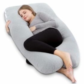 抱きまくら U型 妊婦枕 マタニティ 抱かれ枕 もちもちクッション ボディピロー 背もたれ 洗える (グレー)