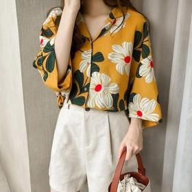 ブラウス レディース 春夏 ブラウス シフォントップス 花柄 半袖 Vネットシャツ 大きいサイズ 韓国風 UVカット オシャレ 大人 通勤 新作 2色-P491