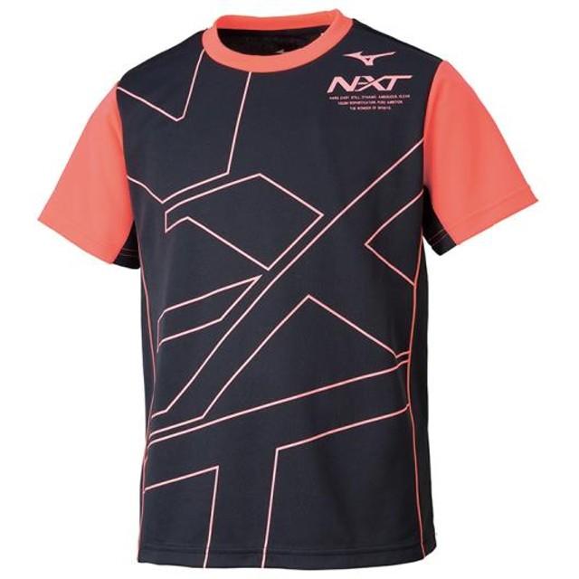 MIZUNO SHOP [ミズノ公式オンラインショップ] N-XT Tシャツ[ジュニア] 96 ブラック×ファイアリーコーラル 32JA9422