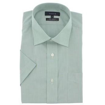 【TAKA-Q:トップス】形態安定レギュラーフィットワイドカラー半袖ビジネスドレスシャツ